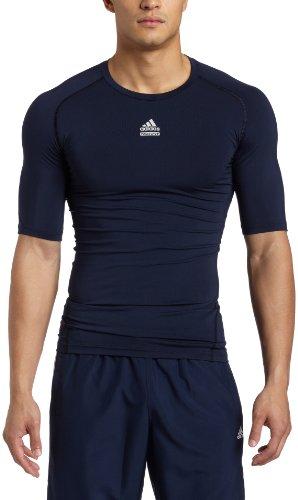 adidas Techfit–Camiseta Ajustada para Hombre Cut & Sew Camiseta de Manga Corta, Hombre, Azul Marino, Large