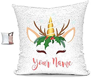 YUUNITY Personalized Unicorn Reversible Sequin Pillow, Custom Unicorn Sequin Pillow Gifts for Girls(White/Rose Gold)
