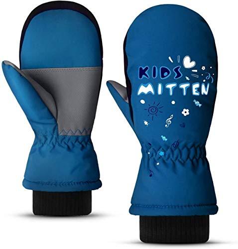 ThxToms Fäustlinge Kinder Skihandschuhe, Wasserdicht Winddicht Warme Winterhandschuhe, für Junge Mädchen Schnee Laufen Skifahren Wandern Radfahren Snowboarden, 2–10 Jahre, Blau