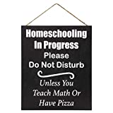 JennyGems HomeSchooling in Progress Do Not Disturb Unless You Teach Math or Have Pizza | Do Not Ring Wood Sign | Made in USA