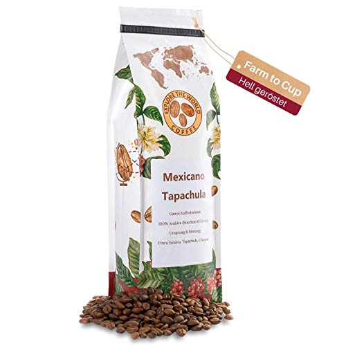 EXPLORE THE WORLD COFFEE Mexicano Tapachula - 500g ganze Kaffeebohnen - 100% Arabica Bohnen - Helle Röstung für Filter Kaffee und French Press - Länderkaffee - Mexiko Röstkaffee (500)