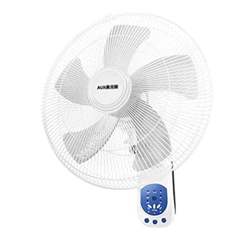 Ventilador de pared, ventilador portátil, ventilador de 5 aspas, con control remoto, temporizado para 7.5 horas, ventilador de enfriamiento silencioso de 3 velocidades para uso en interiores