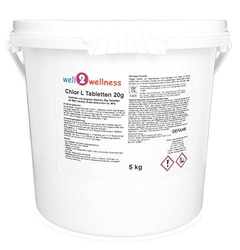 well2wellness Chlor L Tabletten 20g - langsamlösliche Chlortabletten 20g mit 90{5e6d00007acbe2afd0fe79f04e85d625186cfe13d47c70535ddf024d446ebd0f} Aktivchlor, 5,0 kg