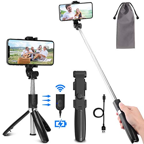 PEYOU Perche Selfie Trépied avec Télécommande Rechargeable Compatible pour...