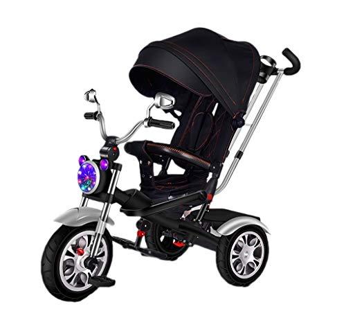 NBgy kinderen 4 in 1 Deluxe Zwart driewieler kinderen 1-6 jaar inklapbaar zonwering rood trike, jongen licht groen driewieler met draaistoel