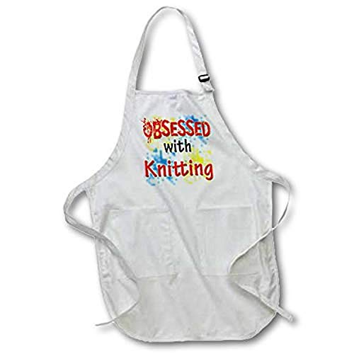 3D Rose Obsessed with Knitting Full Length Apron-with Pockets, 22 x 30, Black