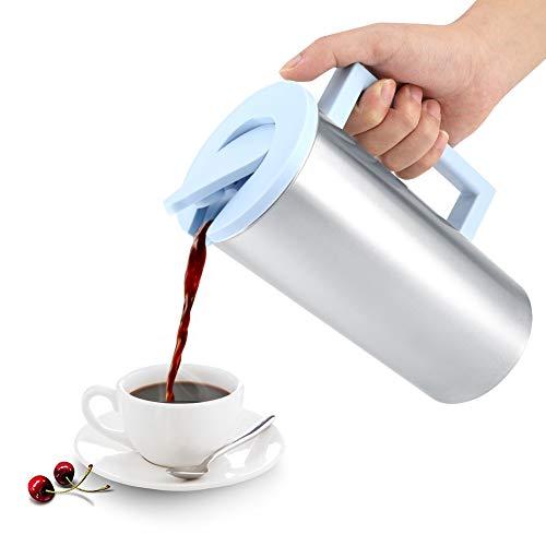 Jarra de agua de 1800 ml con tapa, jarra de bebidas de acero inoxidable para café con jugo de leche(Azul)