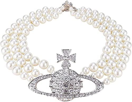 FRHKFJYKH Collar de Perlas de Plata de Saturno de Tres Capas,Collares de Cuentas de Perlas Blancas Collar de Planeta Saturno de Diamantes de Imitación de Cristal