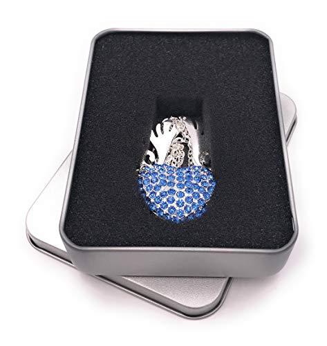 Onwomania hart ketting met vleugels zilver USB-stick in aluminium geschenkdoos 64 GB USB 2.0