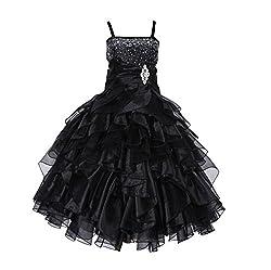 Black Rhinestone Organza Layer Flower Girl Dresses