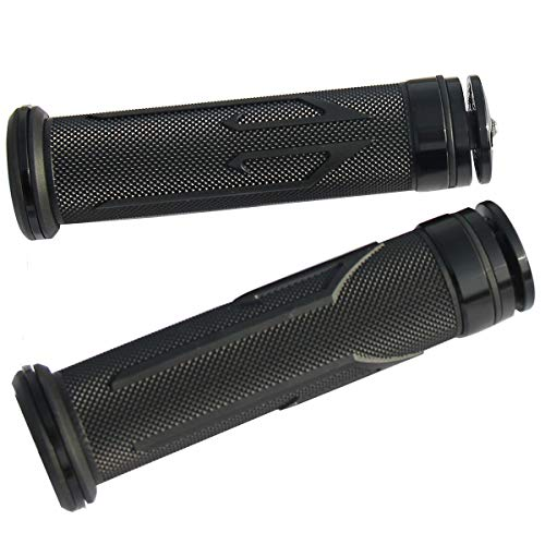 MotorToGo One Pair Black Motorcycle 7/8' Handlebar Grips Gel with End Diamond Caps for 2016 Triumph Thunderbird Storm ABS
