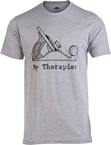 My Therapist (Wood Planer) | Funny Woodworking Working Sawdust Carpenter T-Shirt-(Adult,XL) Heather Grey
