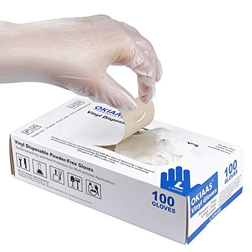 OKIAAS Disposable Gloves L| Latex-Free Clear Vinyl Gloves for Household, Food Handling, Lab Work and More| Large,100 Counts/Box