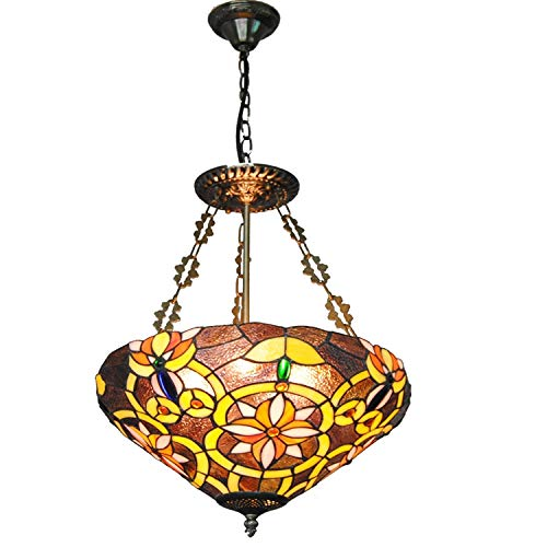 """Tiffany pendiente de la lámpara 16"""" de ancho cuenco Stained Glass Shade 3-accesorio ligero para Comedor Casa Foyer Isla de cocina Puerta de entrada Habitación Sala"""