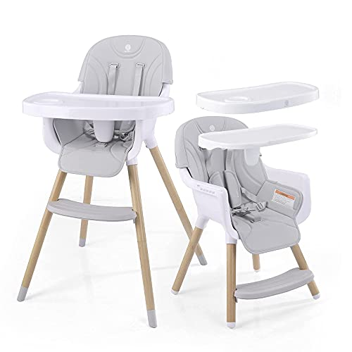 Baby High Chair, 3-in-1 Convertible ASTM Approved Infant Adjustable Feeding Dining Chair | 2 Big Removable Easy to Clean Dishwasher Safe Trays,for 6 Mons up to 35 Lb Toddler(Grey)