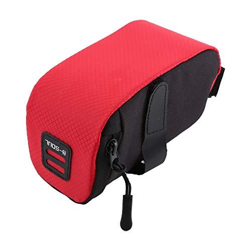 Boburyl MTB Tija de sillín Bolsa de una Silla Plegable Ciclismo de Carretera de reparación de Bicicletas Teléfono Herramientas de Cola Trasera Bolsa de almacenamientonegro Rojo