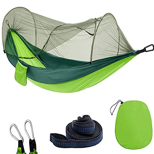 Huaqiguo ultraligero viaje camping hamaca de secado rápido automático de apertura rápida paracaídas nylon hamaca para acampar al aire libre anti-mosquitos interior y exterior