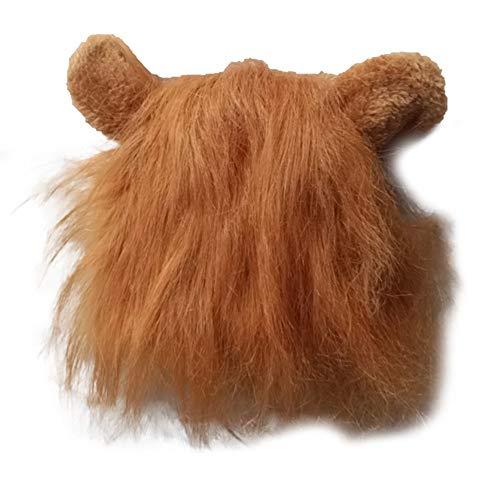 Disfraz de Mascota, Peluca de Melena de len para Gato, Disfraz de Fiesta de Navidad de Halloween con Oreja (marrn M)