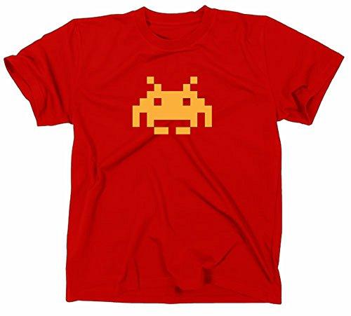 Space Invaders Retro Kult T-Shirt, Atari, C64,80er,nerd, Rot, XL