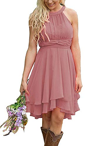 Faxpox Women's Knee Length Country Bridesmaid Dresses Western Wedding Guest Dresses Short Maid of Honor Gown Dusty Rose US12