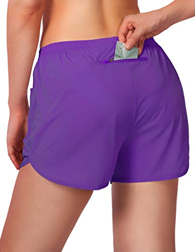 Women's Running Shorts 3' Athletic Workout Shorts for Women with Zipper Pockets (Purple, Large)