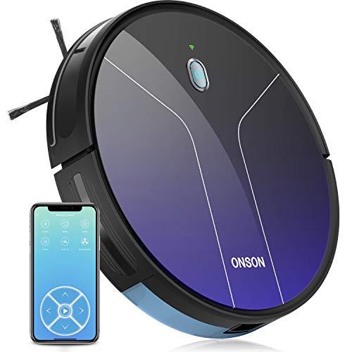 ONSON Saugroboter, J20C Staubsauger Roboter mit WLAN, (Optische Durchflusssensor Navigationssystem, 2100Pa,100Min, Sprachsteuerung) Reinigt Hartböden, Tierhaare, Teppiche