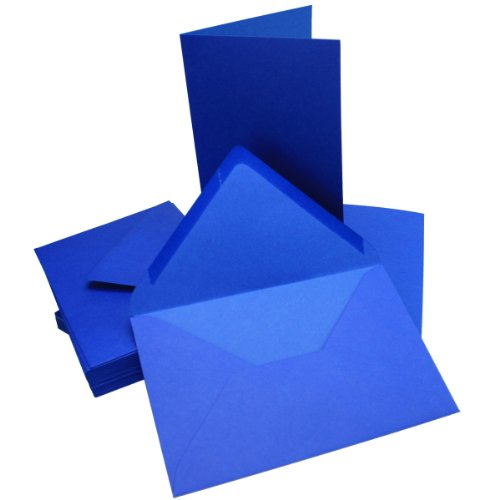 Cartons d'invitation avec enveloppes - DIN B6 - 115 x 170 - Ensemble parfait pour les invitations à un mariage, à une communion, à une confirmation ou à un baptême - Ne se déforment pas - Compatibles avec les imprimantes 50 Sets bleu roi
