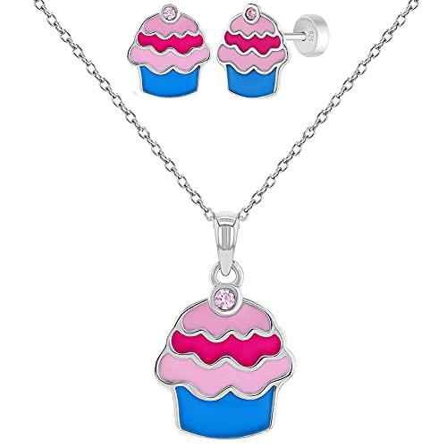 In Season Jewelry Plata Fina 925 Set de Collar y Pendientes en Forma de Cupcake con Circonita Rosa y Esmalte Multicolor para Niñas