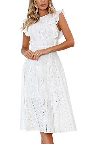 ECOWISH Womens Dresses Elegant Ruffles Cap Sleeves Summer A-Line Midi Dress White S