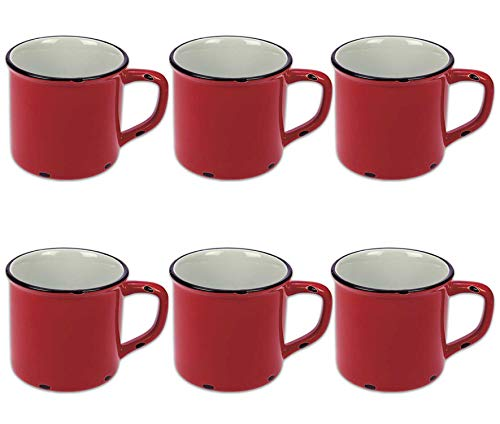Tony Brown Kaffeebecher Emaille-Optik Tassen Becher Kaffeetasse Teetasse Keramiktasse 500ml (Rot, 6er Set)