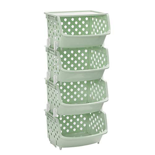 Panier de rangement Étanche à l'humidité Étanche à l'humidité Séchage Superposition Etagère en Plastique Cuisine Creuse Design Multicouche Rose Bleu Vert Beige LITING (Color : Green)