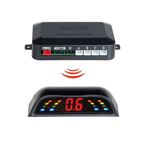 Lowest Price! red : New LED Display Wireless Parking Sensor Kit 4 Sensors Auto Car Reverse Assistanc...