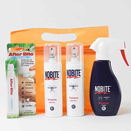 RENNER XXL Nobite Sorglospaket, Nobite Haut-Spray + Nobite Kleidung + AfterBite MÜCKENSCHUTZ INSEKTENSCHUTZ Moskito-Zecken Tropen Abwehr