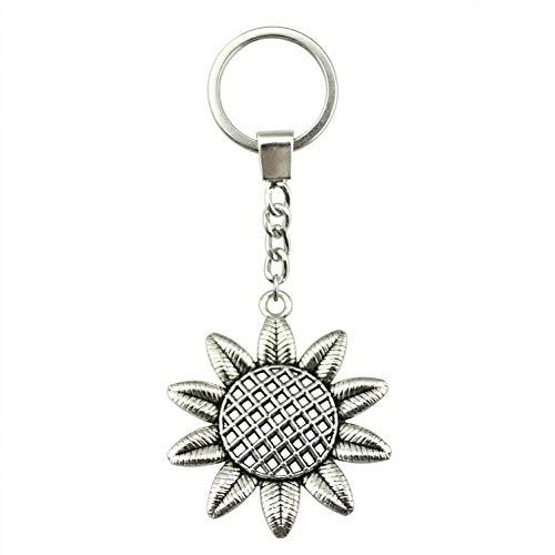 N/ A Mode mannen sieraden sleutelhanger DIY metalen houder ketting zonnebloem 49x43mm zilver kleur hanger cadeau