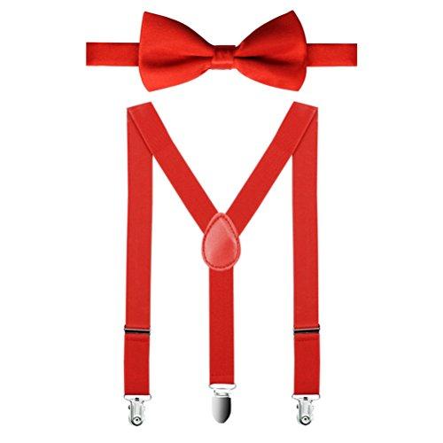 1 Conjunto Unisex Tirantes De Color Sólido Y Pajaritas Con Punto Infantil Para Los Niños Corbata De Lazo Para Chico Chica (rojo)