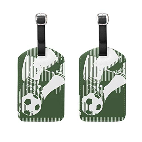 COOSUN Fútbol carteles etiquetas de equipaje etiquetas de viaje etiqueta nombre titular de la tarjeta para equipaje maleta mochilas, 2 unidades