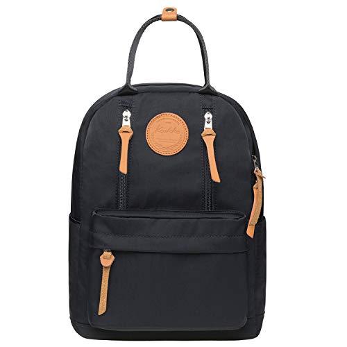 KAUKKO Unisex Schulrucksack mit Laptopfach für 10 Zoll Notebook, Multifunktion Rucksack für Wandern Reisen Camping 13.2 L (Schwarz JNL-KS06-03)