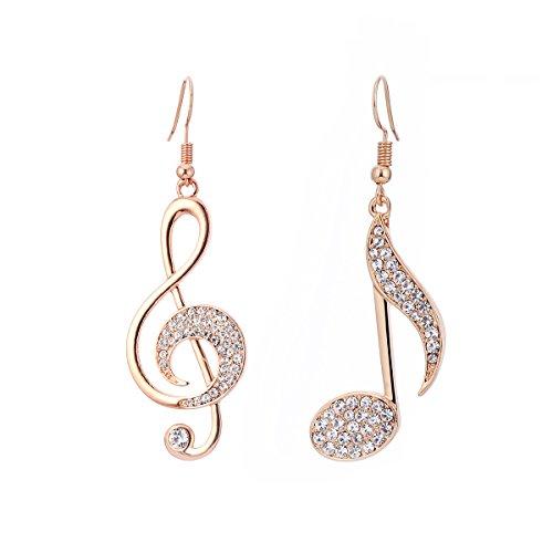 Orecchini pendenti per donne, orecchini con note musicali Orecchini con pendenti ragazze in oro o argento con orecchini in acciaio inossidabile con cristalli (Oro rosa)