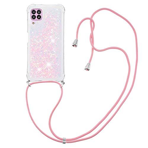 Schutzhülle für Huawei P40 Lite, flüssig, funkelnd, TPU-Gel, Silikon, stoßfest, mit Umhängeband, Rosa Sterne