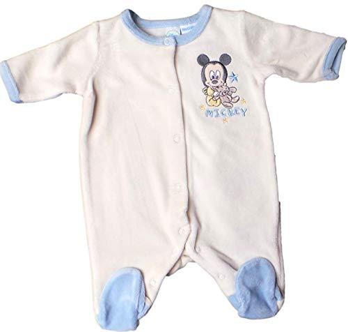 Disney Mickey Mouse Pyjama/Schlafanzug/Strampler - Baby Micky Maus im Bärchenland mit Geschenkebox - Beige/Blau