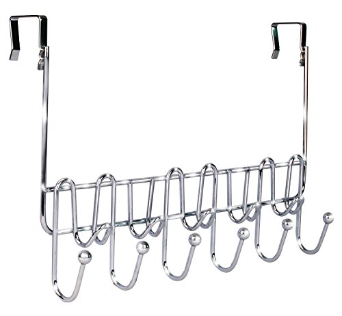 DecoBros Supreme Over The Door 11 Hook Organizer Rack, Chrome Finish