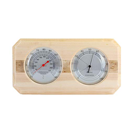 Dyna-Living Sauna Thermometer 2 in 1Wooden Fahrenheit Thermometer Hygrometer for Sauna Indoor Hygrothermograph for Family Hotel Sauna Room