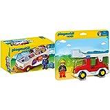 Playmobil 1.2.3 - 1.2.3 Camión De Bombero (6967) + 1.2.3 Autobús, A Partir De 1.5 Años (6773)