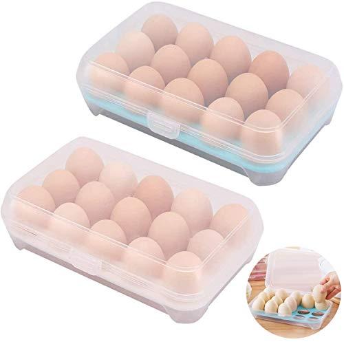 Fiyuer huevera plastico 2 Pcs Caja para Huevos Organizador de Cocina apilable con Tapa Capacidad para 30 Huevos
