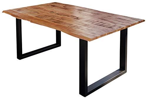 SAM Esstisch Darwin 160 x 85 cm, Mangoholz massiv, lackiert & naturfarben, Baumkantentisch mit Metallgestell in Mattschwarz, echte Baumkante, 26 mm