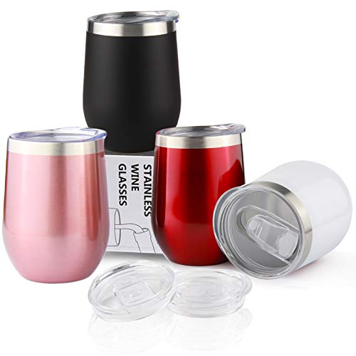 Sivaphe Wine Glasses Tumbler Keep Cold Camping Cup Gifts Family Friends Insulated Reusable Coffee Cups Stainless Steel Double Walled with Lid 12OZ Set of 4 Black Red White Rose
