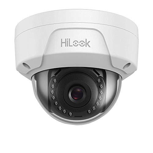 HiLook by Hikvision IPC-D121H-M - Cámara Domo (2,8 mm, 2 MP, 1080 p, visión Nocturna, Lente Gran Angular de 30 m, IP67, Resistente al Agua, PoE