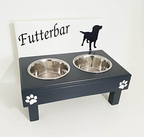 Jennys Tiershop Fressnapf Hundenapf für große Hunde, tolle Futterbar mit 2 Edelstahlnäpfen mit 2 x 1500 ml. in weiß/anthrazit, gerne Ihre Rasse! (as9i)