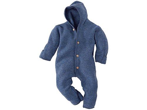 Engel Engel-Natur Baby Overall mit Kapuze aus Bio Schurwoll-Fleece, Blau Melange, Gr. 50/56