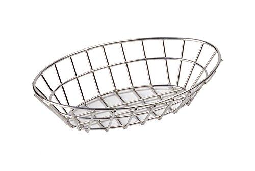 G.E.T. Enterprises Stainless Steel Oval Metal Wire Basket Stainless Steel Wire Baskets Collection 4-82144 (Pack of 1)